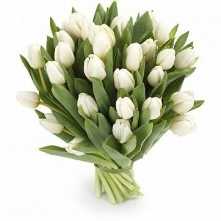 """Букет белых тюльпанов """"Снежинка"""""""