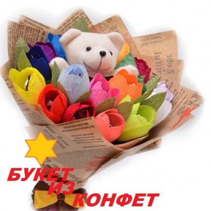 Букет из игрушки и конфет Мишка в цветочном раю