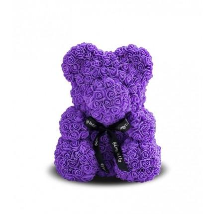 Медведь из фиолетовых роз 25 см