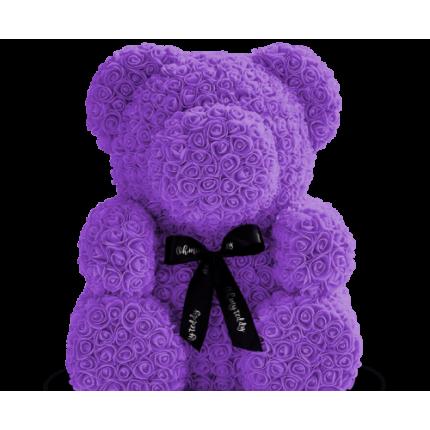 Медведь из фиолетовых роз 70 см