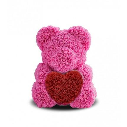 Мишка из роз с сердечком Розовый, 40 см