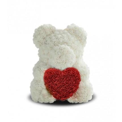 Мишка из роз с сердечком Белый, 40 см