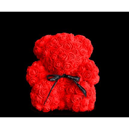 Медведь из красных роз 25 см