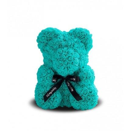 Медведь из голубых роз 25 см