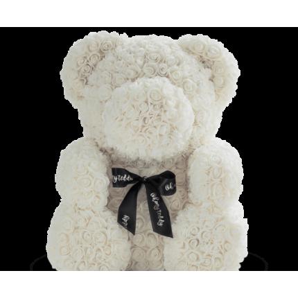 Медведь из белых роз 70 см
