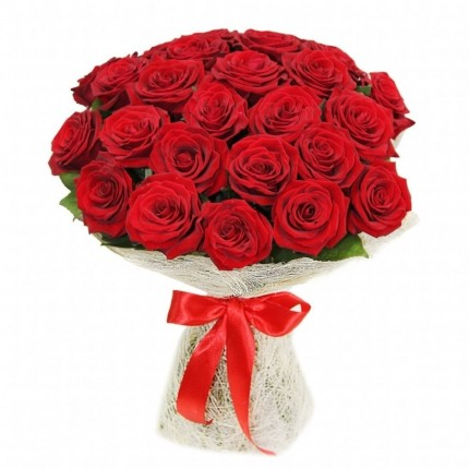 Букет 25 красных роз 60см