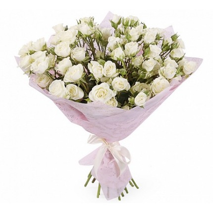 Букет  «Ясное утро» из 15 белых кустовых роз
